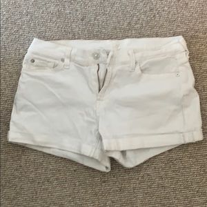7 For All Mankind white denim shorts